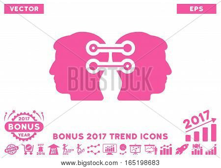 Pink Dual Heads Interface Connection pictograph with bonus 2017 trend images. Vector illustration style is flat iconic symbols white background.