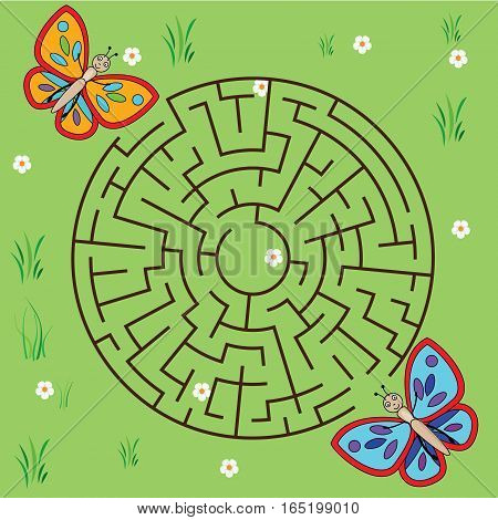 Maze children game: help the butterfly go through the labyrinth. Kids activity sheet