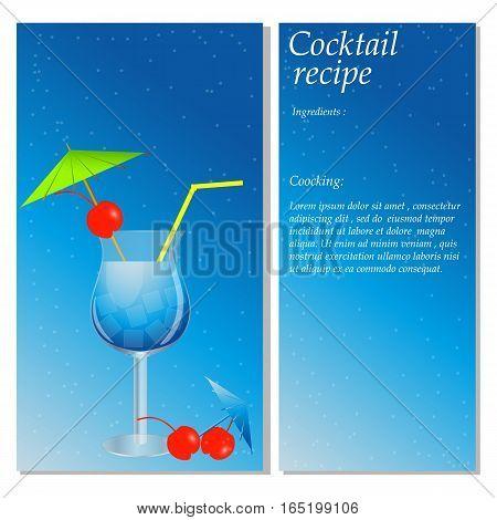 Cocktail vector illustration. The drink recipe. Card menu