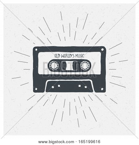 Old World's Music. Inspiring Creative Motivation Quote. Vector Typography Poster Design Concept. Hand drawn textured vintage label. Retro badge.