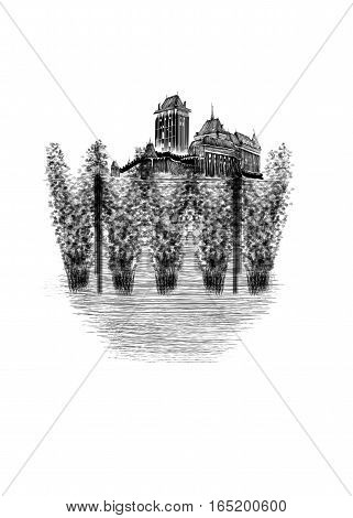 Black monogram medieval Czech castle and hop-garden drawn by hand isolated on white background. Beer card.