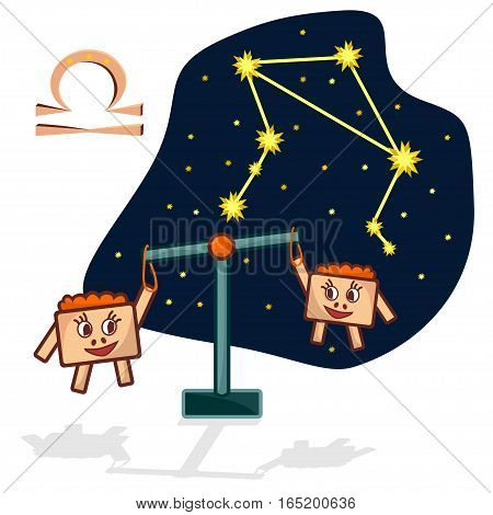 Cartoon Zodiac signs. Vector illustration of the Libra with a rectangular faces. A schematic arrangement of stars in the constellation Libra
