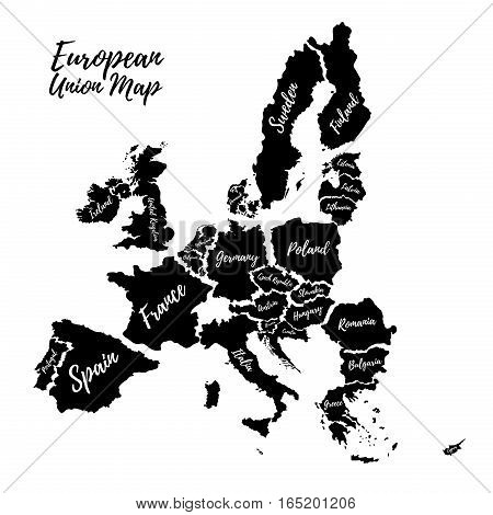 Poster of the European Union. Silhouettes of the countries of the European Union.Vector.