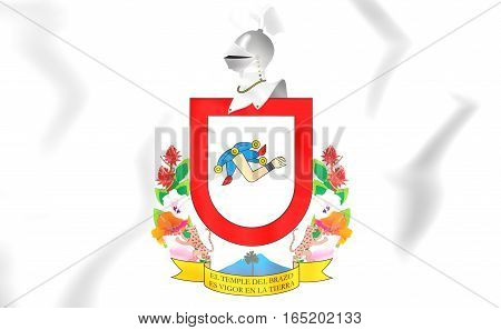 Flag of Colima Mexico. 3D Illustration. Close Up.