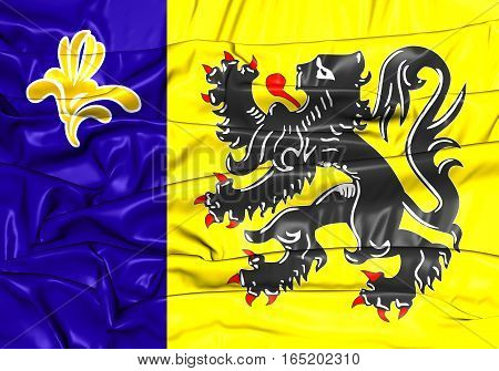 3D Flag Of Flemish Community Commission. 3D Illustration.