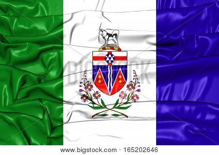 3D Flag Of Yukon, Canada. 3D Illustration.