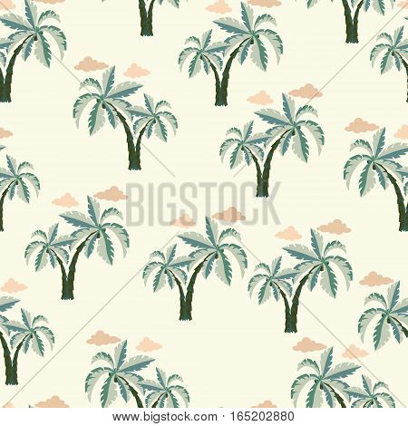 Vector Palm trees Seamless pattern. Vector illustration on a white background.