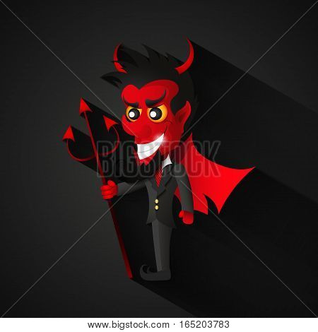 Vector cartoon image of funny red devil with horns and tail standing and frightening someone on a white background.
