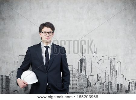 Man In Hardhat And Glasses, Concrete Wall, City