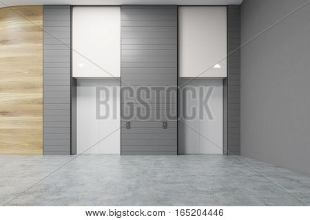 Two white elevators in an office with gray and wooden walls. Concrete floor. Soft lightning. 3d rendering. Mock up