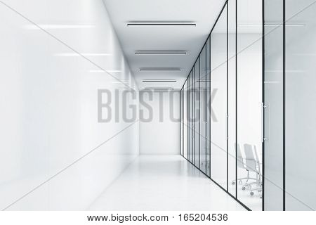 Empty Corridor Of A White Office