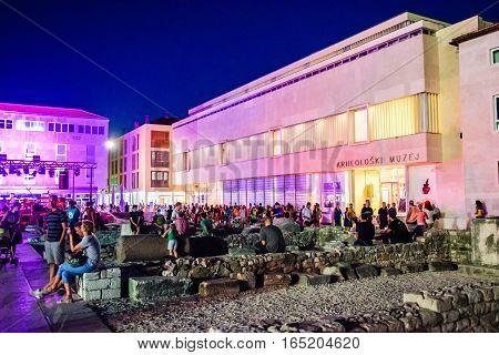 Zadar, Croatia - July 28, 2015: Center Of Old City Of Zadar Is Crowded In Summer Evenings