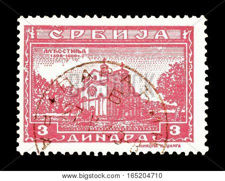 SERBIA - CIRCA 1943 : Cancelled postage stamp printed by Serbia, that shows Monastery Ljubostinja.