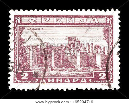 SERBIA - CIRCA 1943 : Cancelled postage stamp printed by Serbia, that shows Monastery Manasija.