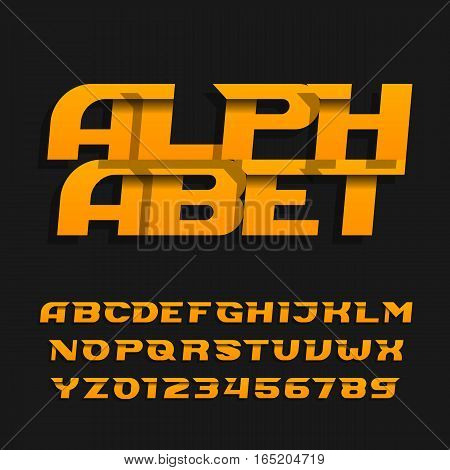 Abstract alphabet font. Effect italic type letters and numbers on a dark background. Vector typeface for your design.