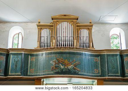 Nin, Croatia - July 30, 2015: Organ Inside Of Christian Church In Historic City Nin, Croatia