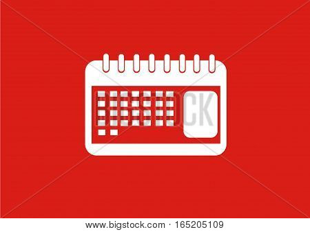 Flat Red Calender schedule with photo illustration