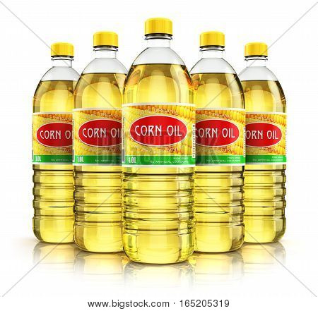 3D render illustration of the group of five plastic bottles with yellow refined vegetable corn or maize cooking oil or organic fat isolated on white background with reflection effect