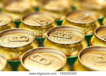 3D render illustration of the macro view of metal shiny alcohol beer drink cans with selective focus bokeh effect