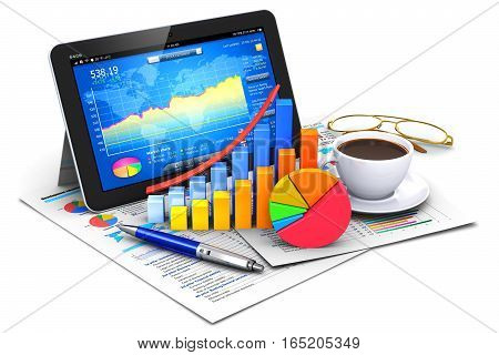 3D render illustration of modern tablet computer PC with stock market application software, growth bar chart and pie diagram, ballpoint pen, golden eyeglasses, report documents and cup or mug of fresh hot black coffee drink isolated on white background