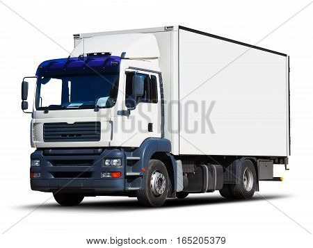 White delivery truck or container auto car trailer isolated on white background