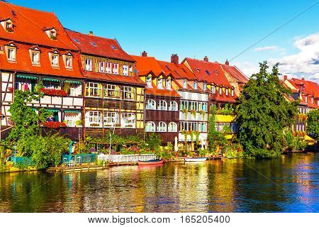 Scenic summer panorama of the Old Town pier architecture in Bamberg Bavaria Germany