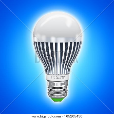 3D render illustration of glowing metal white LED electric light lamp on blue background