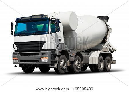 Heavy concrete or cement mixer truck vehicle isolated on white background