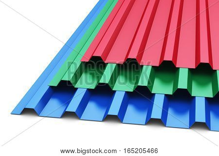 3D render illustration of the stack or group of stacked color metal steel profile sheets for roof and roofing construction industry isolated on white background
