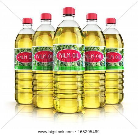 3D render illustration of the group of five plastic bottles with yellow refined vegetable palm cooking oil or organic fat isolated on white background with reflection effect
