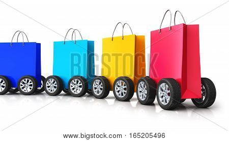 3D render illustration of train from the group of color paper shopping bags with car wheels isolated on white background with reflection effect