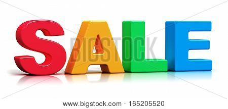 3D render illustration of color 3D Sale word text isolated on white background with reflection effect