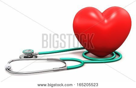 3D render illustration of medical stethoscope and red heart shape isolated on white background