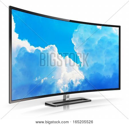 3D render illustration of curved LED 4K UltraHD TV or computer PC monitor display with colorful blue sky with clouds picture isolated on white background with reflection effect