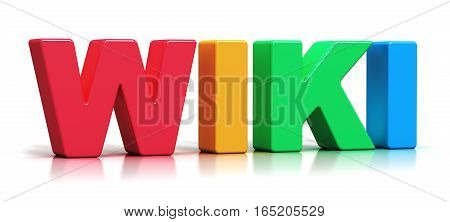 3D render illustration of color 3D Wiki word text isolated on white background with reflection effect