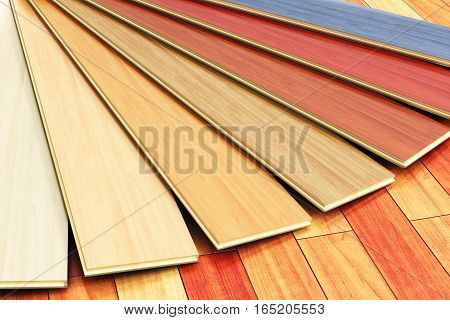 3D render illustration of the set of color wooden laminated construction planks on new brown polished wood parquet floor