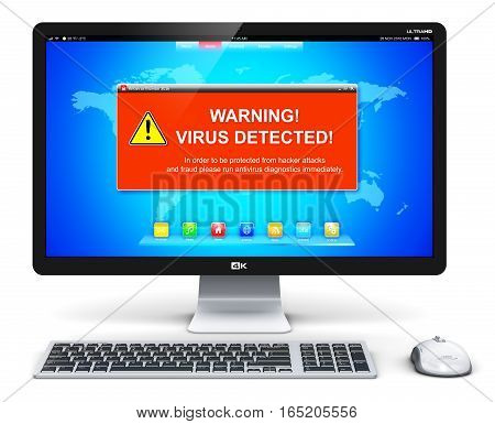 3D render illustration of modern black glossy metal desktop computer PC with virus alert attack warning message on screen display isolated on white background