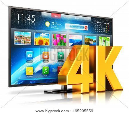 3D render illustration of 4K UltraHD resolution internet web smart TV cinema or computer PC monitor display isolated on white background with reflection effect