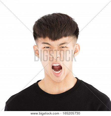 angry asian young casual man portrait isolated