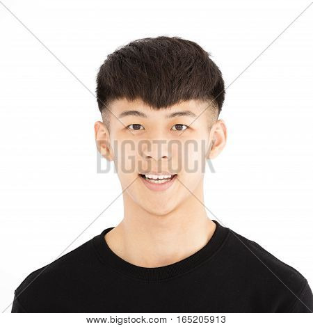 smiling asian young casual man portrait isolated