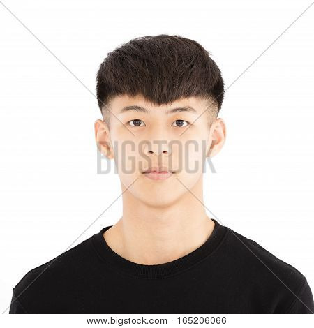 closeup asian young man face portrait isolated