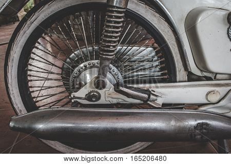 Close Up Of Exhaust Or Intake Of Classic Vintage Japan Motorbike Popular In The Past. Classic Travel