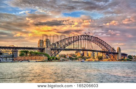 Sydney Harbour Bridge at sunset - Australia, New South Wales