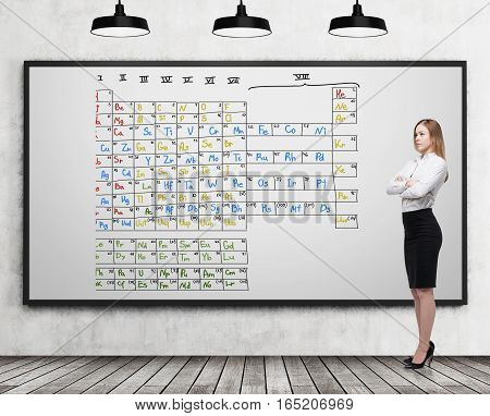 Blond woman is standing with her arms crossed near a whiteboard with a colorful Mendeleev periodic table. Concept of chemistry. 3d rendering