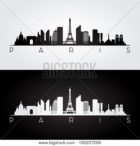 Paris skyline and landmarks silhouette black and white design vector illustration.