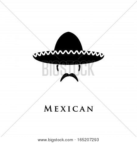 Mexican hat sombrero and mustache. Vector illustration.
