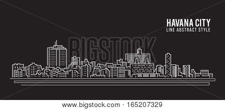 Cityscape Building Line art Vector Illustration design - Havana city