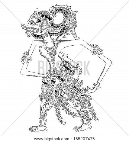 Anggada, a character of traditional puppet show, wayang kulit from java indonesia.