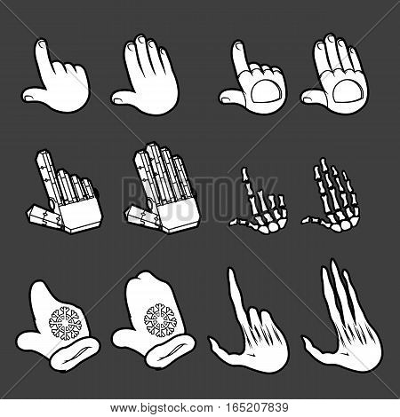 vector set of white silhouette hand icons signs isolated pack
