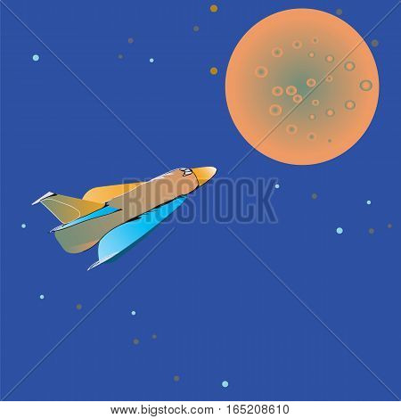 Space shuttle approaching to a mystery orange planet, illustration in a simple manner